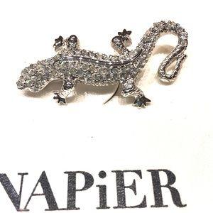 Vintage Napier Rhinestone Lizard Brooch NWT